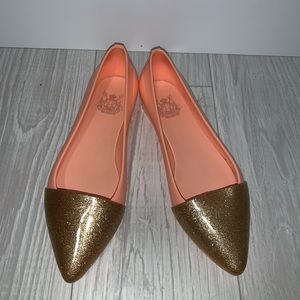 Coral and gold pointed flats size 5